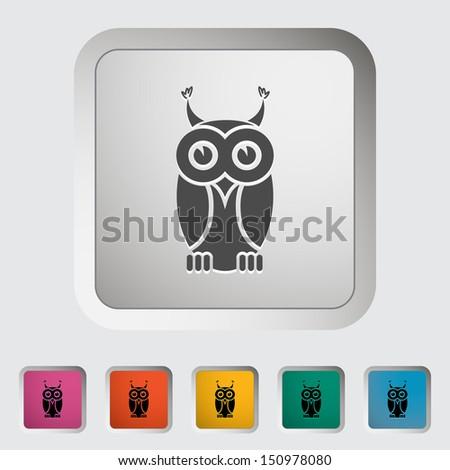 Owl icon. Single icon. Vector illustration. - stock vector