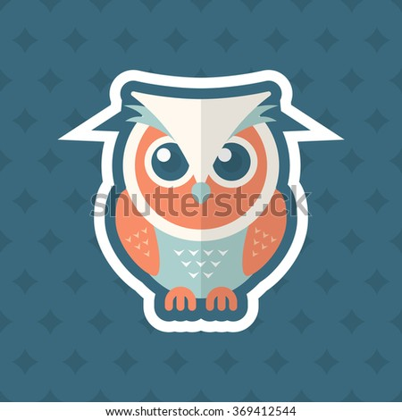 OWL icon , Vector flat long shadow design. In education concept.
