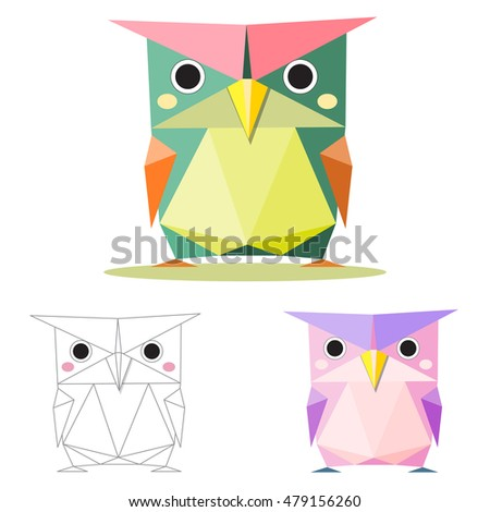 owl illustration graphic art in low polygon vector , geometric illustration, origami art
