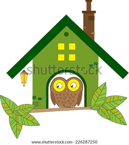 owl in birdhouse  - stock vector