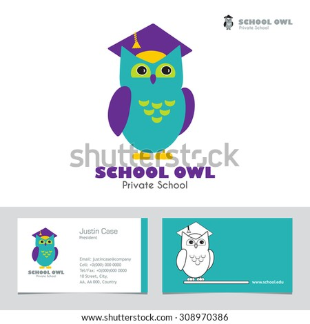 Owl Graduate Hat Educational Icon Template Stock Vector - Kid business card template