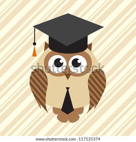 owl in graduation hat - stock vector