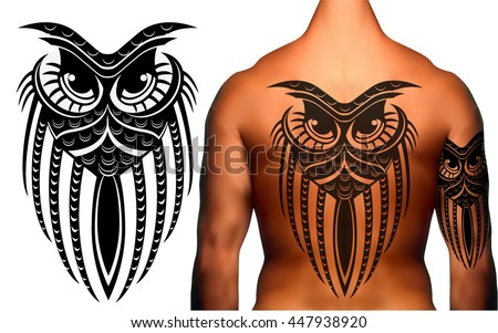Owl in Maori / Polynesian Style  tattoo black and white