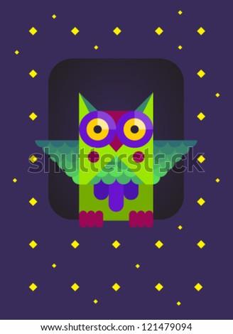 Owl in the Nest - stock vector
