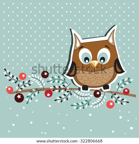 Owl in the Winter Day.Card design - stock vector