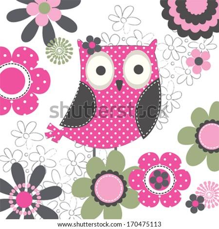 Owl invitation card vector illustration stock vector 170475113 owl invitation card vector illustration stopboris Choice Image