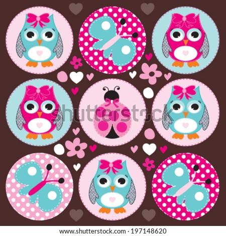 owl ladybird butterfly vector illustration - stock vector