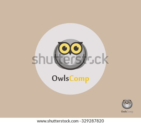Owl Logo - Concept Vector Development. Logo, label, badge, emblem or logotype element with owl for business, corporation or web - stock vector