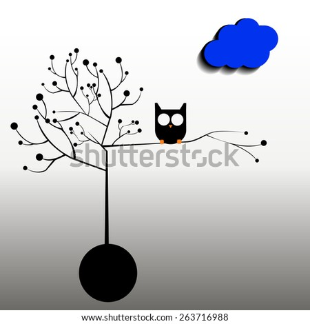 owl night sky heart shadow silhouette graphics - stock vector