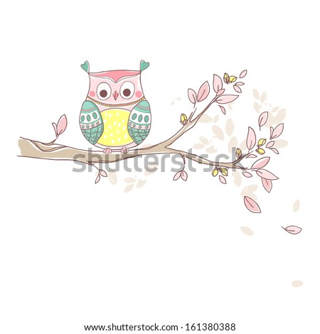 owl on a branch - stock vector