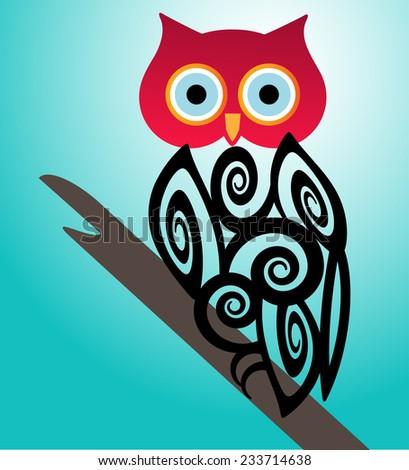 Owl on a perch  - stock vector