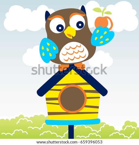owl on the cage, vector cartoon illustration