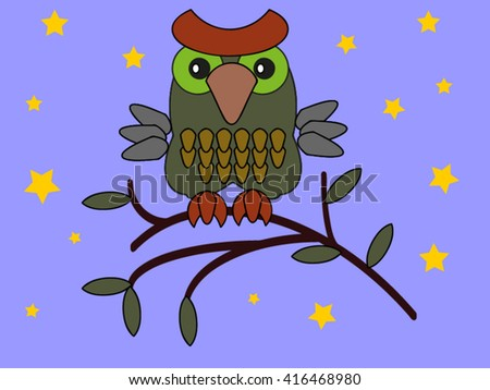 Owl on the tree. - stock vector