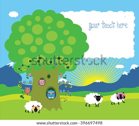 Owl on tree and sheep om meadow - farmland cartoon illustration, childish style. Summer day landscape with multicolor funny animals, mountains, blue sky with sun beams and clouds. Cloud as frame.  - stock vector