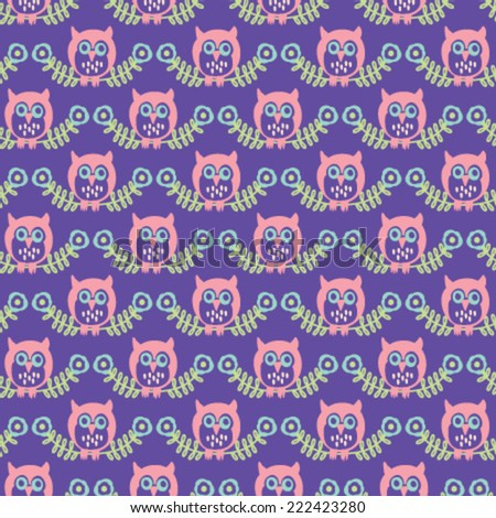 owl pattern - stock vector