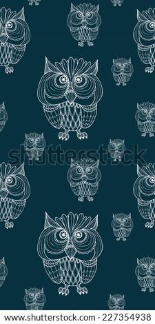 Owl pattern - Vector  - stock vector