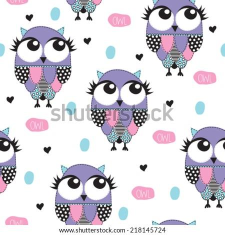 owl pattern vector illustration - stock vector