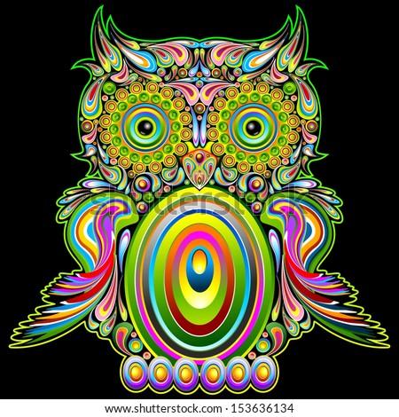 Owl Psychedelic Pop Art Design - stock vector