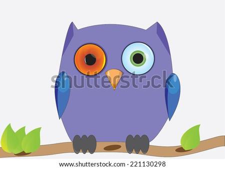 Owl purple  - stock vector
