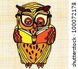 Owl reading on pattern background - stock vector