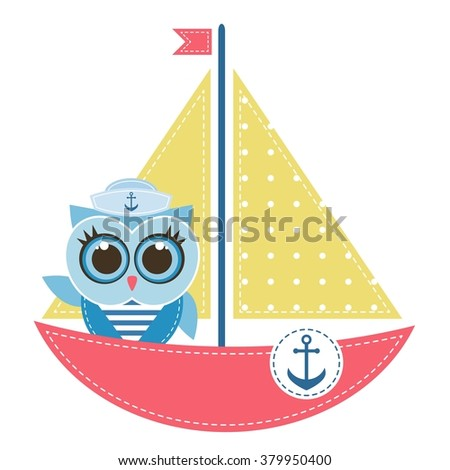 Owl sailor on the boat - stock vector