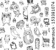 Owl seamless background. Monochrome. Hand drawn vector illustration. - stock vector
