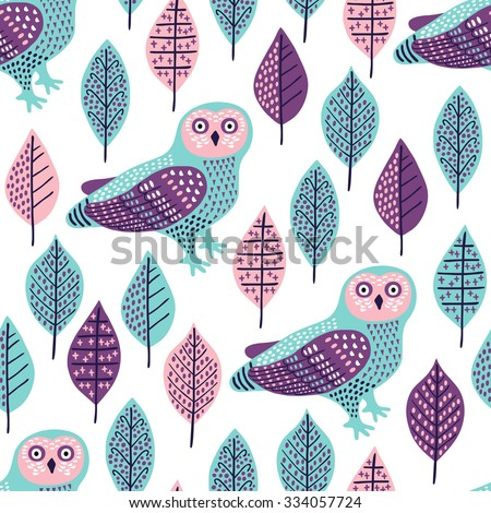 Owl seamless pattern. Surface decoration with owl and leaves.Vector illustration. Cloth design, wallpaper, wrapping. - stock vector