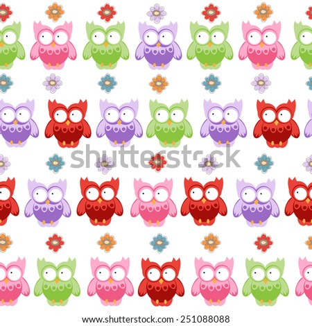 owl seamless pattern. vector illustration - stock vector