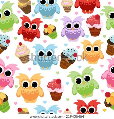 owl seamless with cupcake - stock vector