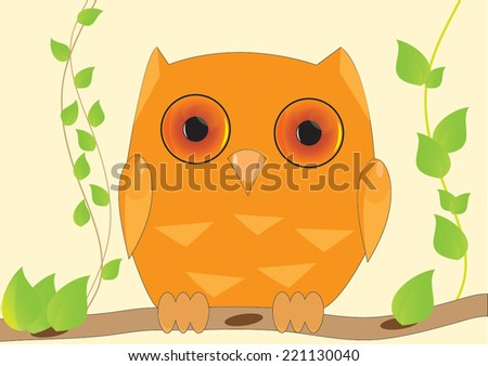 owl seating on a branch - stock vector