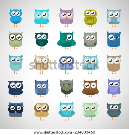 Owl Set - Isolated On Gray Background - Vector Illustration, Graphic Design Editable For Your Design - stock vector
