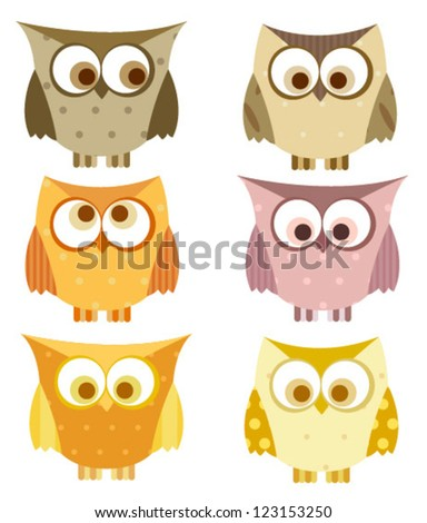 owl set with spots - stock vector