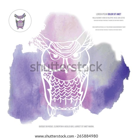 owl silhouette on watercolor background with text . background stain vector - stock vector