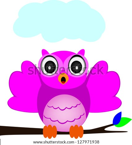 owl singing - stock vector