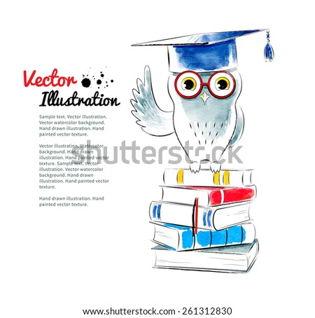 Owl sitting on books. Watercolor vector illustration. Isolated. - stock vector