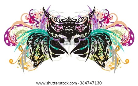 Owl splashes. Grunge tribal owl splashes with open wings, floral elements and colorful drops - stock vector