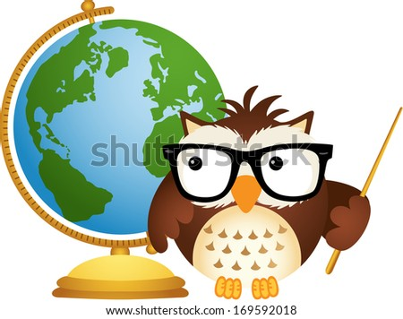 Owl Teacher with Globe - stock vector