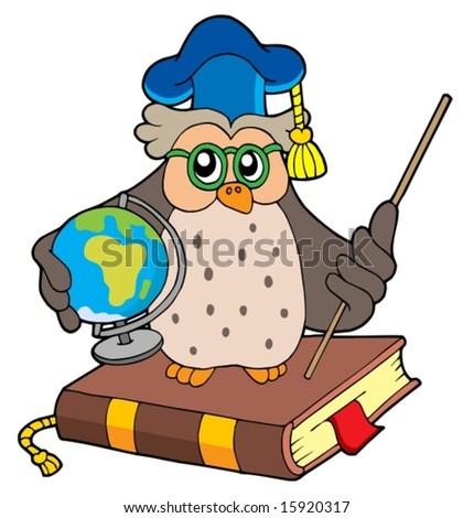 Owl teacher with globe - vector illustration. - stock vector