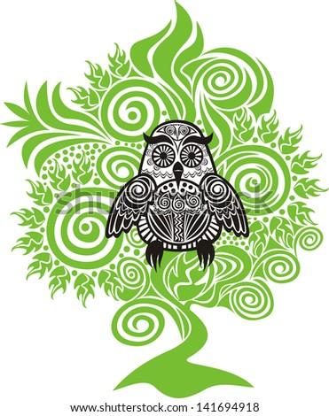 Owl tree vector illustration - stock vector
