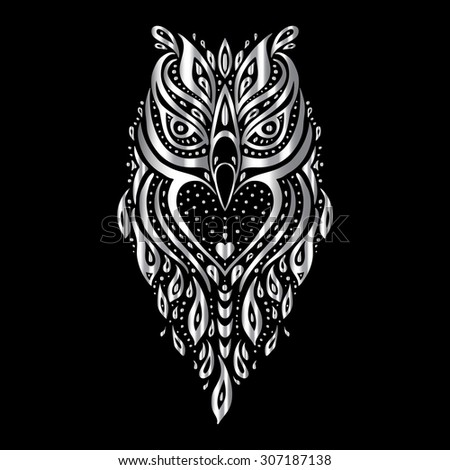 Tribal owl stock images royalty free images vectors for Tribal owl tattoo