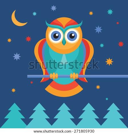 Owl vector color illustration in flat style. Bird owl. - stock vector