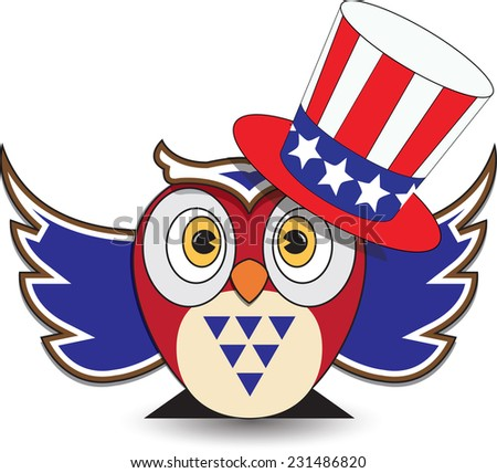 Owl wearing Patriotic uncle sams hat, transparent background, vector Format. - stock vector
