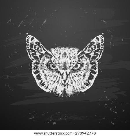Owl with a butterfly tattoo - stock vector