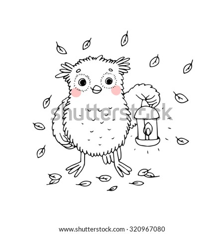 Owl with a lantern.Hand drawn vector illustration on a white background. Coloring book. - stock vector