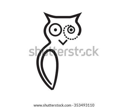Owl with Glasses - stock vector