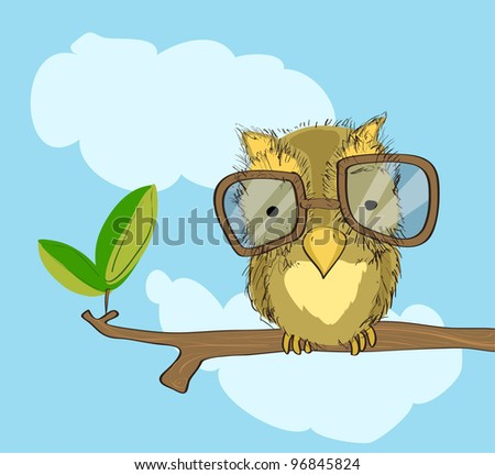 owl with glasses on branch, free hand drawing style, original design - stock vector