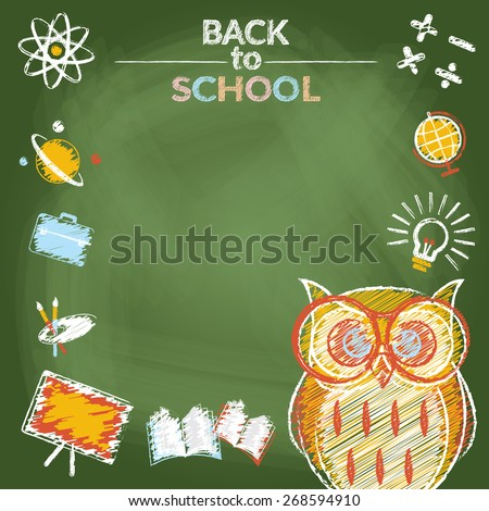 Owl with Icons Frame Chalk Drawing Style, School, Education, Learning and Study - stock vector