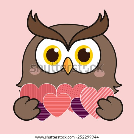 Owl with love - stock vector