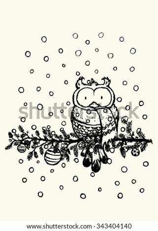 Owl with scarf coloring book illustration.Funny looking character sitting on decorated pine tree branch. - stock vector