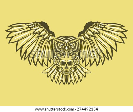Owl with skull - stock vector